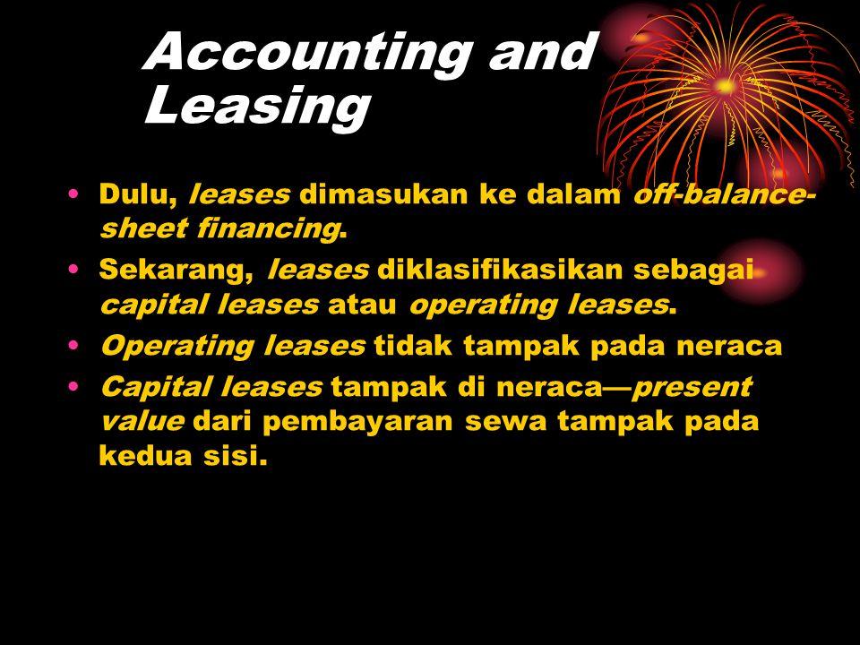 Accounting and Leasing •Dulu, leases dimasukan ke dalam off-balance- sheet financing. •Sekarang, leases diklasifikasikan sebagai capital leases atau o