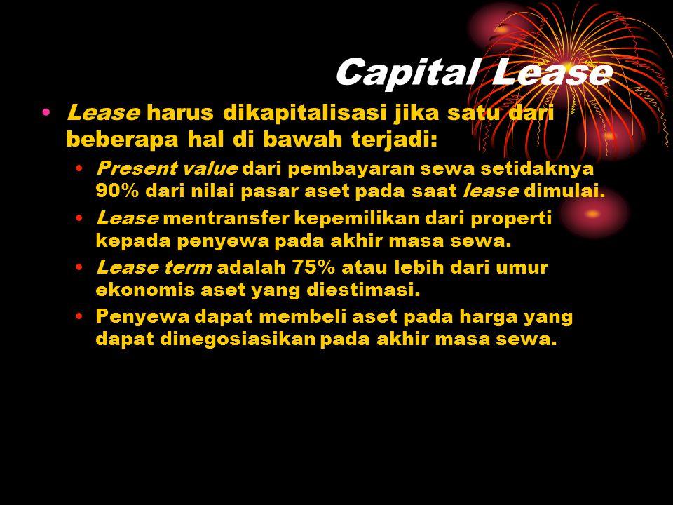 Capital Lease •Lease harus dikapitalisasi jika satu dari beberapa hal di bawah terjadi: •Present value dari pembayaran sewa setidaknya 90% dari nilai