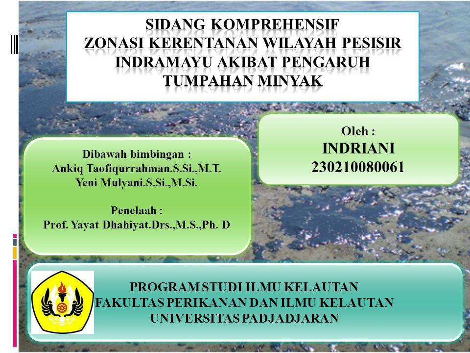 Oleh : INDRIANI 230210080061 Dibawah bimbingan : Ankiq Taofiqurrahman.S.Si.,M.T. Yeni Mulyani.S.Si.,M.Si. Penelaah : Prof. Yayat Dhahiyat.Drs.,M.S.,Ph