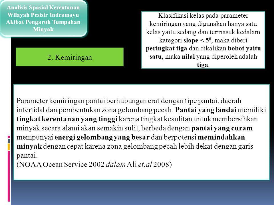 Analisis Spasial Kerentanan Wilayah Pesisir Indramayu Akibat Pengaruh Tumpahan Minyak Klasifikasi kelas pada parameter kemiringan yang digunakan hanya