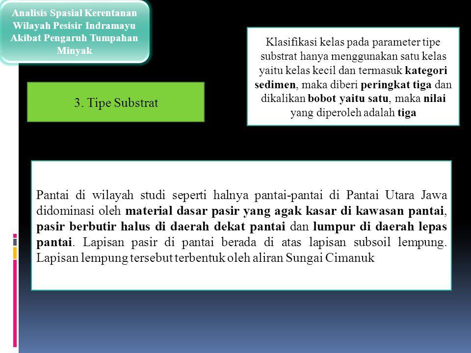Analisis Spasial Kerentanan Wilayah Pesisir Indramayu Akibat Pengaruh Tumpahan Minyak Klasifikasi kelas pada parameter tipe substrat hanya menggunakan