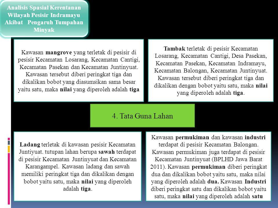 Analisis Spasial Kerentanan Wilayah Pesisir Indramayu Akibat Pengaruh Tumpahan Minyak Tambak terletak di pesisir Kecamatan Losarang, Kecamatan Cantigi