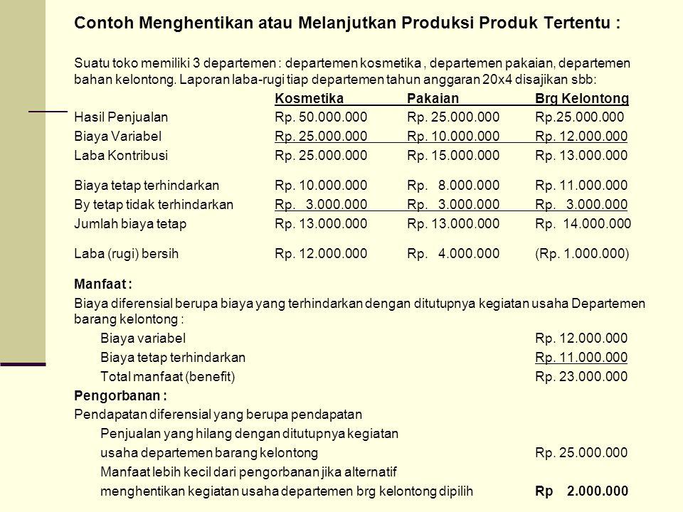 Contoh Menghentikan atau Melanjutkan Produksi Produk Tertentu : Suatu toko memiliki 3 departemen : departemen kosmetika, departemen pakaian, departeme