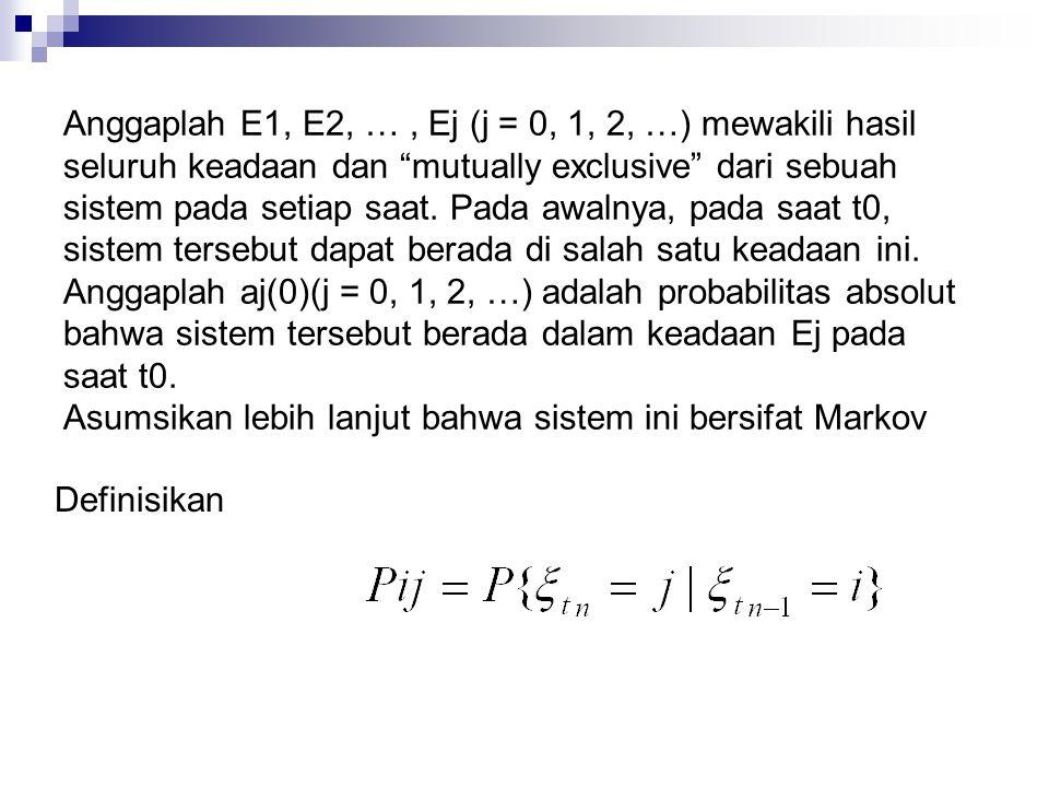 """Anggaplah E1, E2, …, Ej (j = 0, 1, 2, …) mewakili hasil seluruh keadaan dan """"mutually exclusive"""" dari sebuah sistem pada setiap saat. Pada awalnya, pa"""