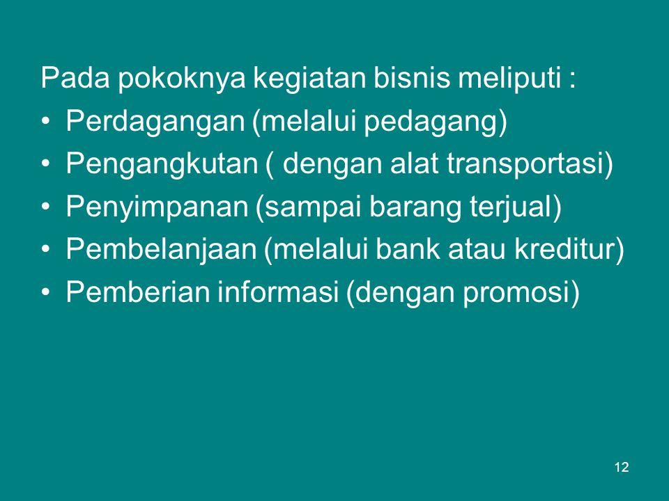 Pada pokoknya kegiatan bisnis meliputi : •Perdagangan (melalui pedagang) •Pengangkutan ( dengan alat transportasi) •Penyimpanan (sampai barang terjual) •Pembelanjaan (melalui bank atau kreditur) •Pemberian informasi (dengan promosi) 12
