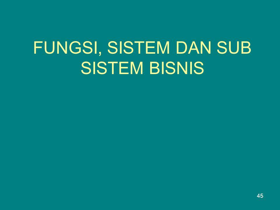 FUNGSI, SISTEM DAN SUB SISTEM BISNIS 45