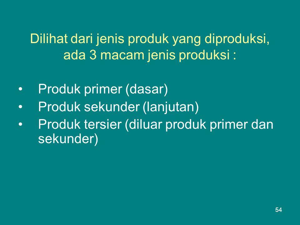 Dilihat dari jenis produk yang diproduksi, ada 3 macam jenis produksi : •Produk primer (dasar) •Produk sekunder (lanjutan) •Produk tersier (diluar produk primer dan sekunder) 54