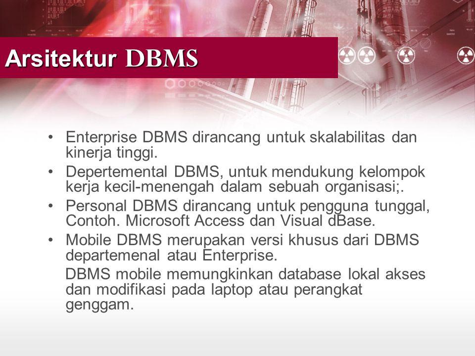 •Enterprise DBMS dirancang untuk skalabilitas dan kinerja tinggi. •Depertemental DBMS, untuk mendukung kelompok kerja kecil-menengah dalam sebuah orga