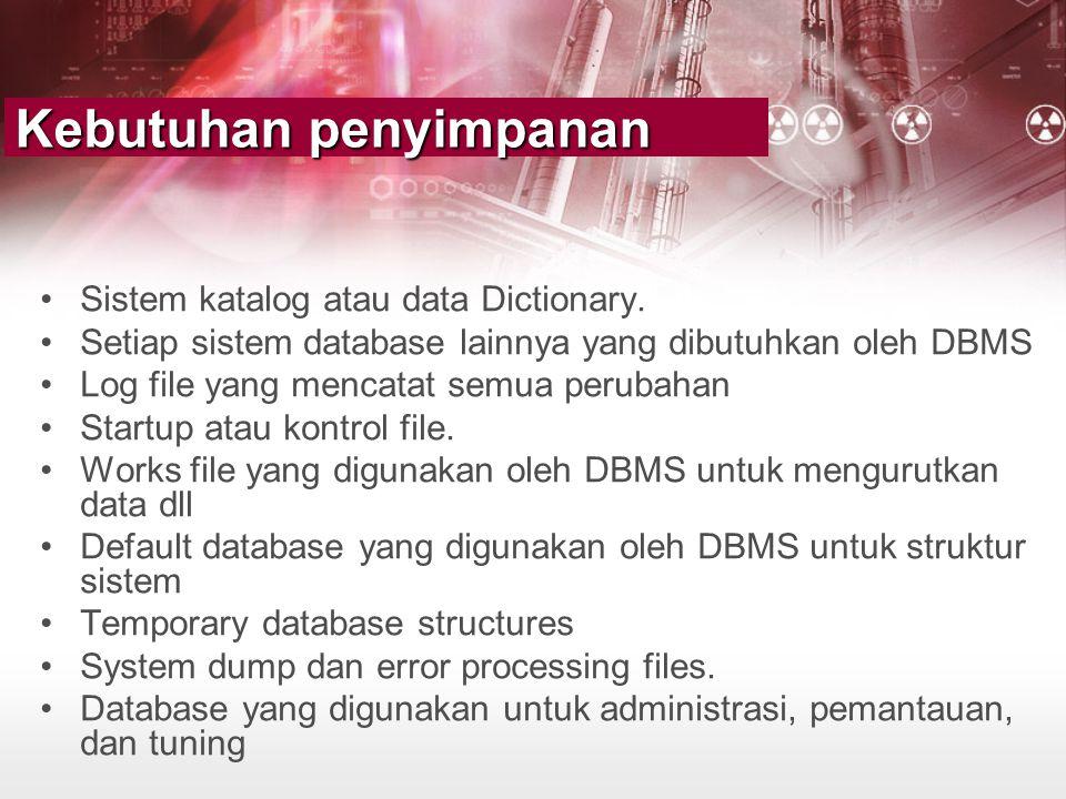 Kebutuhan penyimpanan •Sistem katalog atau data Dictionary. •Setiap sistem database lainnya yang dibutuhkan oleh DBMS •Log file yang mencatat semua pe