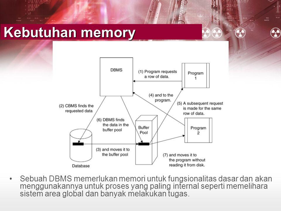 Kebutuhan memory •Sebuah DBMS memerlukan memori untuk fungsionalitas dasar dan akan menggunakannya untuk proses yang paling internal seperti memelihar