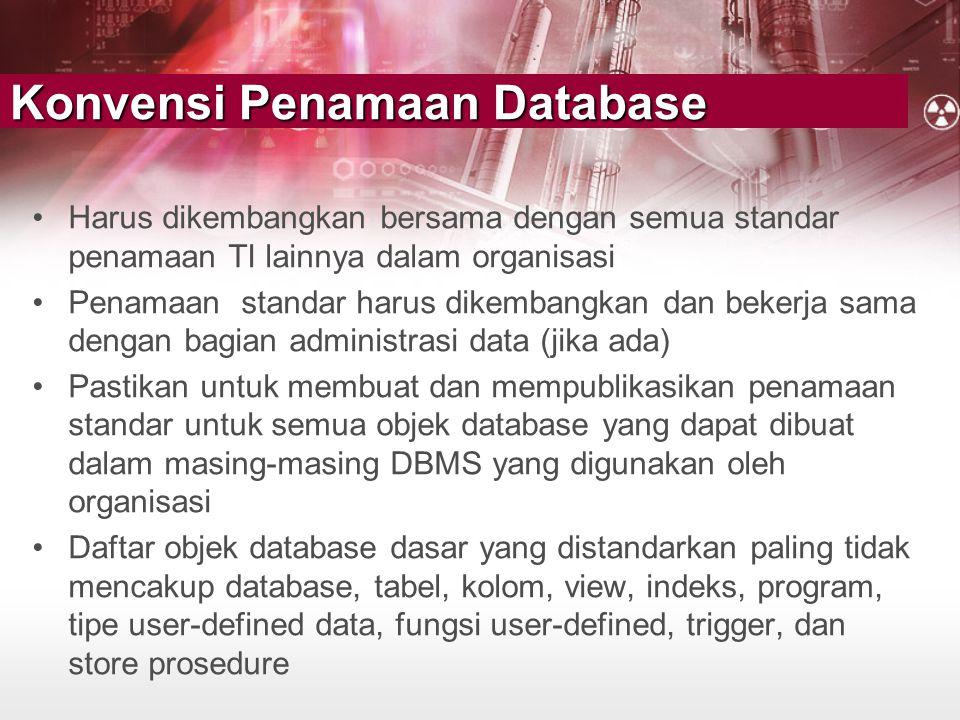 Konvensi Penamaan Database •Harus dikembangkan bersama dengan semua standar penamaan TI lainnya dalam organisasi •Penamaan standar harus dikembangkan