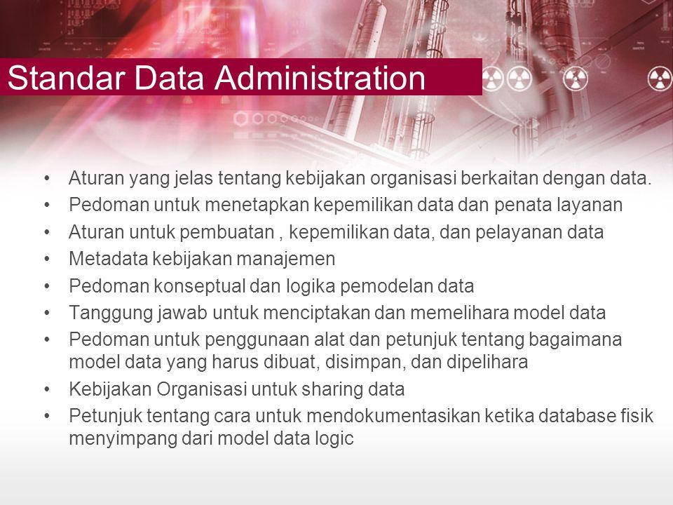 Standar Data Administration •Aturan yang jelas tentang kebijakan organisasi berkaitan dengan data. •Pedoman untuk menetapkan kepemilikan data dan pena