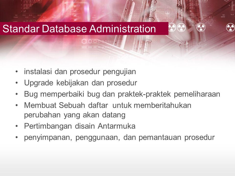 Standar Database Administration •instalasi dan prosedur pengujian •Upgrade kebijakan dan prosedur •Bug memperbaiki bug dan praktek-praktek pemeliharaa