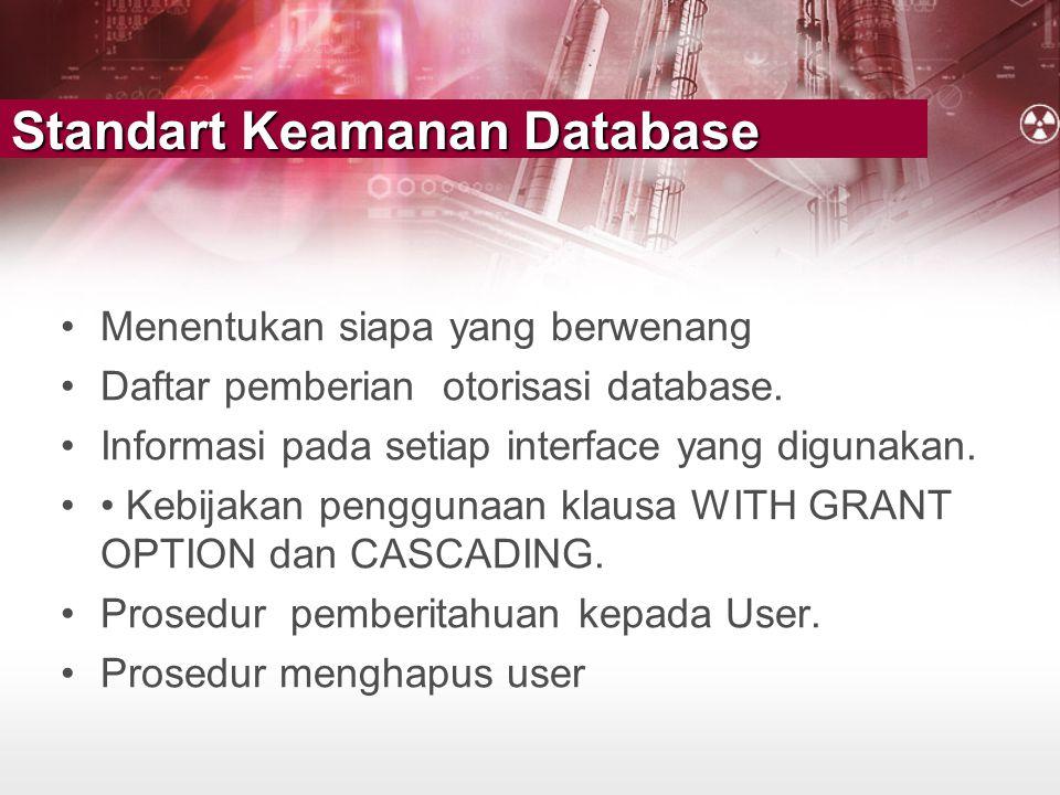 Standart Keamanan Database •Menentukan siapa yang berwenang •Daftar pemberian otorisasi database. •Informasi pada setiap interface yang digunakan. ••