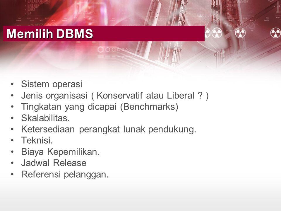 •Sistem operasi •Jenis organisasi ( Konservatif atau Liberal ? ) •Tingkatan yang dicapai (Benchmarks) •Skalabilitas. •Ketersediaan perangkat lunak pen