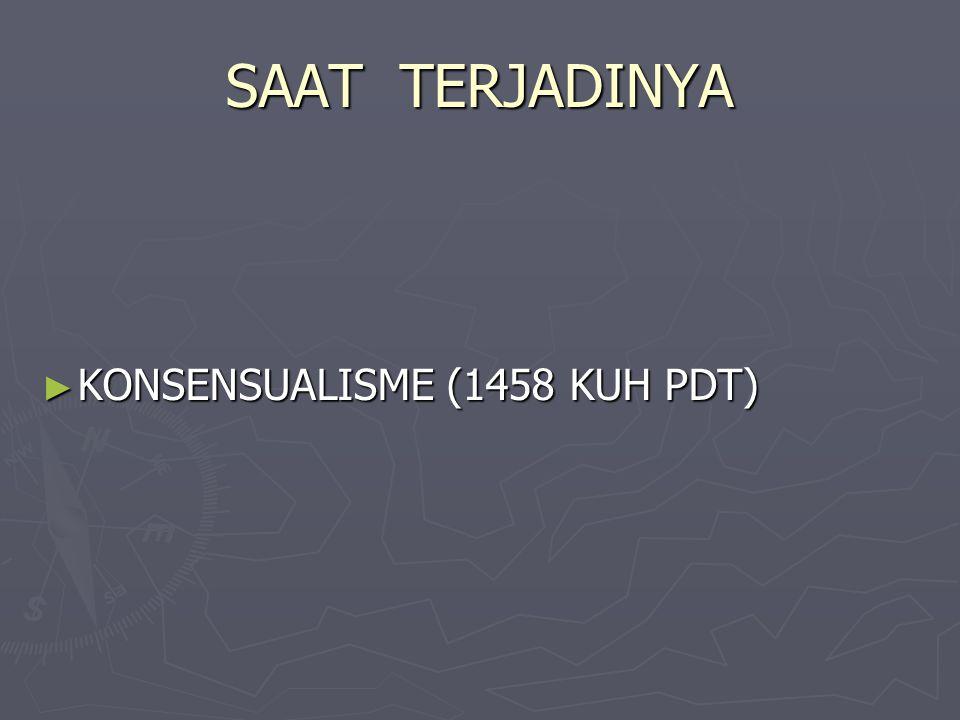 SAAT TERJADINYA ► KONSENSUALISME (1458 KUH PDT)