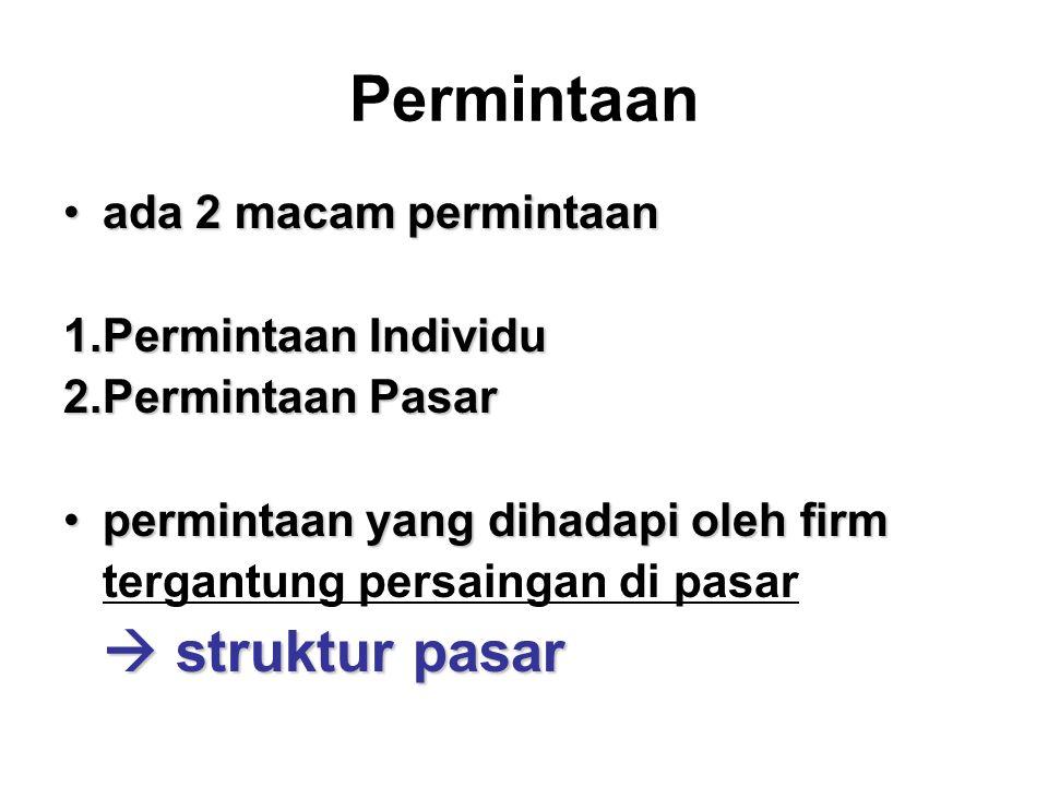 Permintaan •ada 2 macam permintaan 1.Permintaan Individu 2.Permintaan Pasar •permintaan yang dihadapi oleh firm tergantung persaingan di pasar  struktur pasar