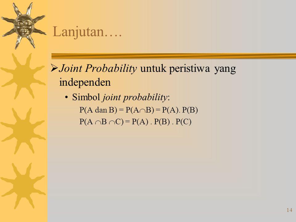 14 Lanjutan….  Joint Probability untuk peristiwa yang independen •Simbol joint probability: P(A dan B) = P(A  B) = P(A). P(B) P(A  B  C) = P(A). P