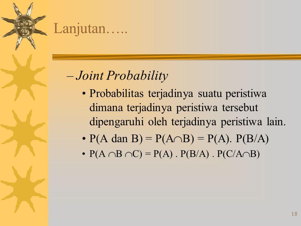 18 Lanjutan….. –Joint Probability •Probabilitas terjadinya suatu peristiwa dimana terjadinya peristiwa tersebut dipengaruhi oleh terjadinya peristiwa