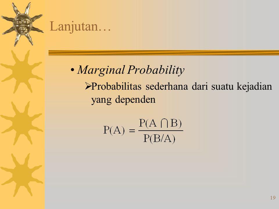 19 Lanjutan… •Marginal Probability  Probabilitas sederhana dari suatu kejadian yang dependen