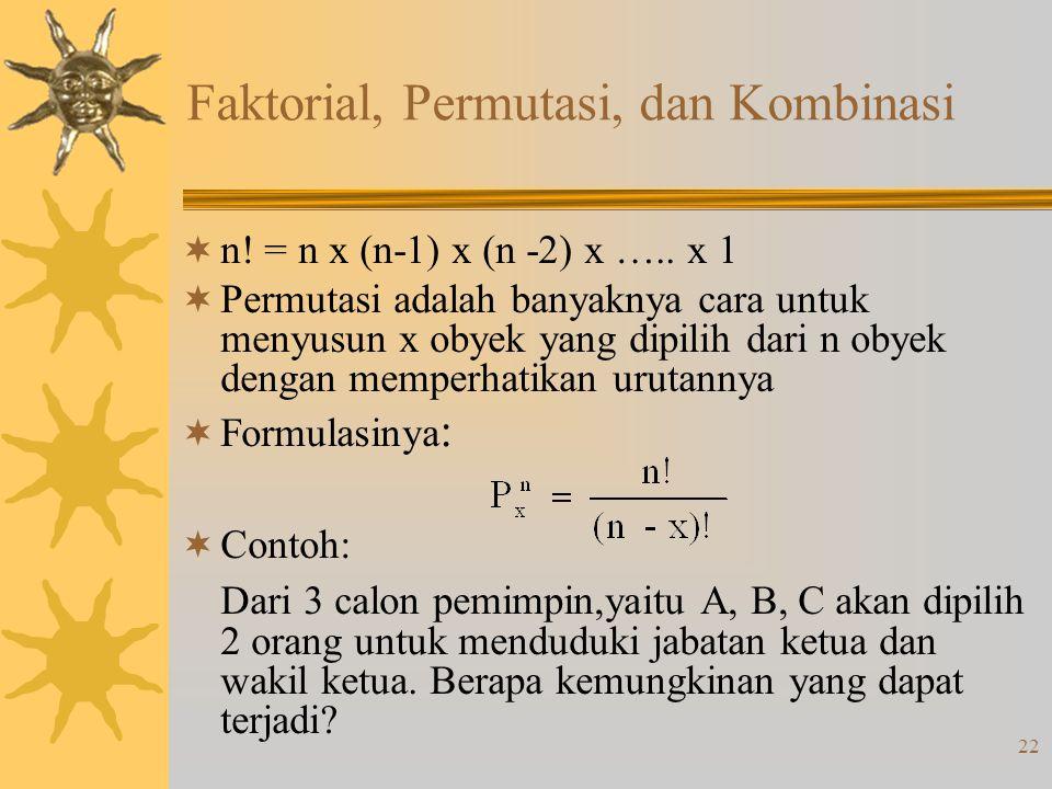 22 Faktorial, Permutasi, dan Kombinasi  n! = n x (n-1) x (n -2) x ….. x 1  Permutasi adalah banyaknya cara untuk menyusun x obyek yang dipilih dari