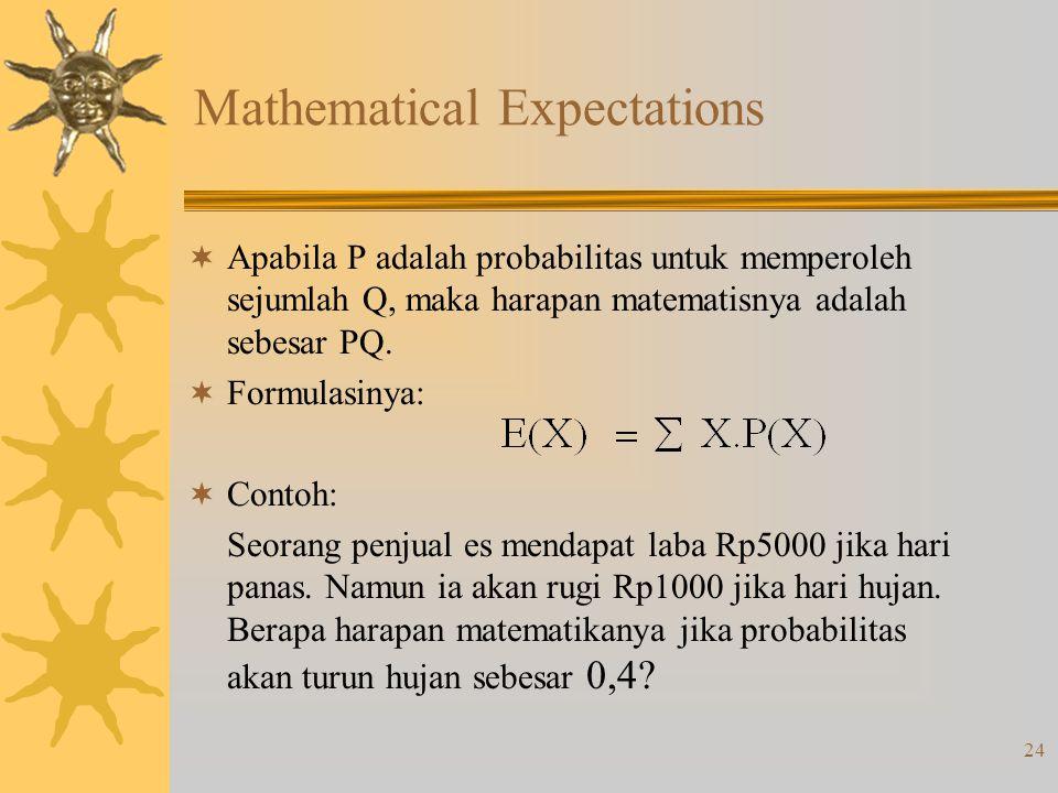 24 Mathematical Expectations  Apabila P adalah probabilitas untuk memperoleh sejumlah Q, maka harapan matematisnya adalah sebesar PQ.  Formulasinya: