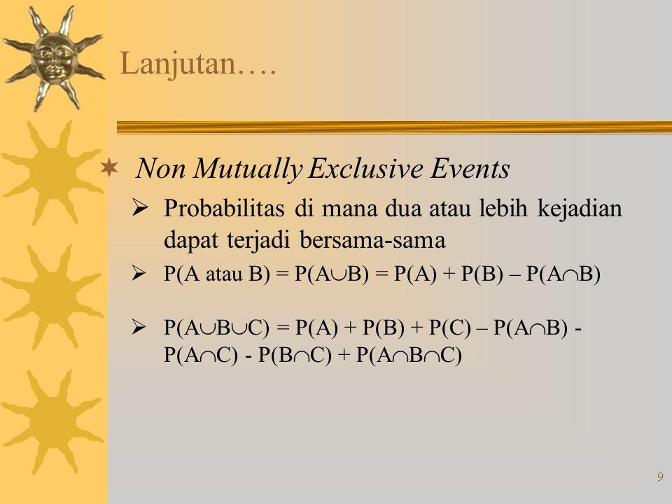 9 Lanjutan….  Non Mutually Exclusive Events  Probabilitas di mana dua atau lebih kejadian dapat terjadi bersama-sama  P(A atau B) = P(A  B) = P(A)