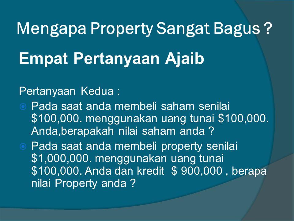 Mengapa Property Sangat Bagus . Pertanyaan Kedua :  Pada saat anda membeli saham senilai $100,000.