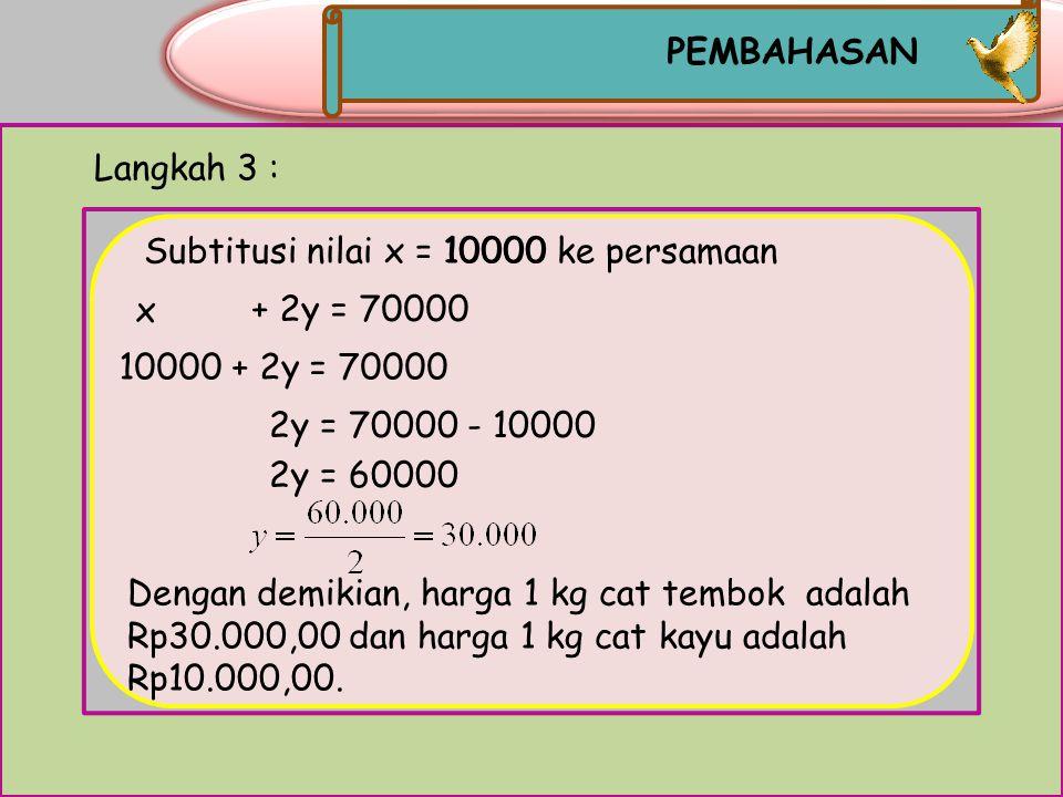 Langkah 2 : Mengeliminasi variabel y MATEMATIKA x + 2y = 70000 2x + 2y = 80000 Menyamakan koefisien variabel y Sudah sama _____________ - x - 2x = 70000-80000 -x= -10000