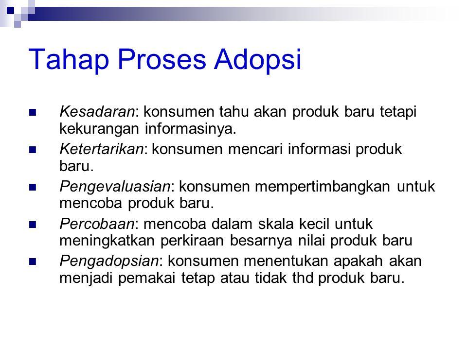 Tahap Proses Adopsi  Kesadaran: konsumen tahu akan produk baru tetapi kekurangan informasinya.