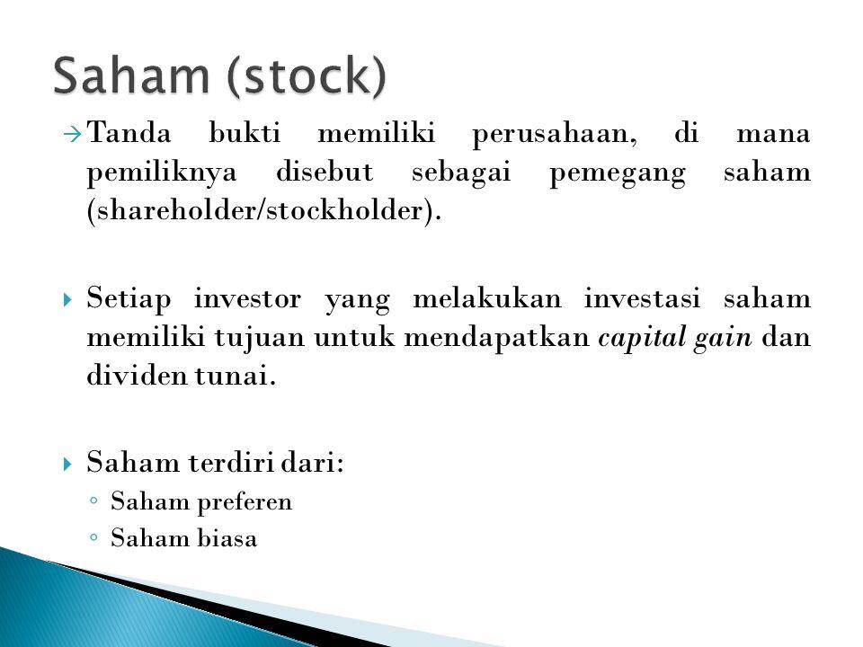  Tanda bukti memiliki perusahaan, di mana pemiliknya disebut sebagai pemegang saham (shareholder/stockholder).  Setiap investor yang melakukan inves