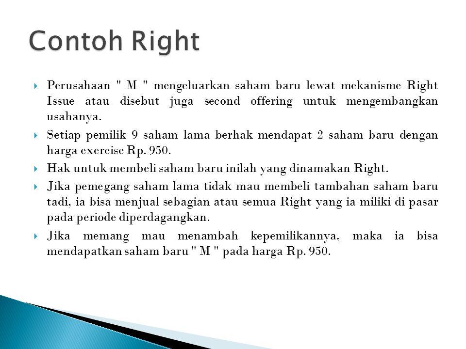  Perusahaan M mengeluarkan saham baru lewat mekanisme Right Issue atau disebut juga second offering untuk mengembangkan usahanya.