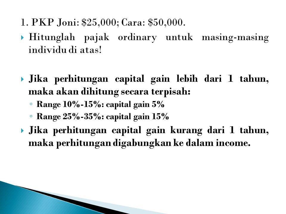 1. PKP Joni: $25,000; Cara: $50,000.  Hitunglah pajak ordinary untuk masing-masing individu di atas!  Jika perhitungan capital gain lebih dari 1 tah
