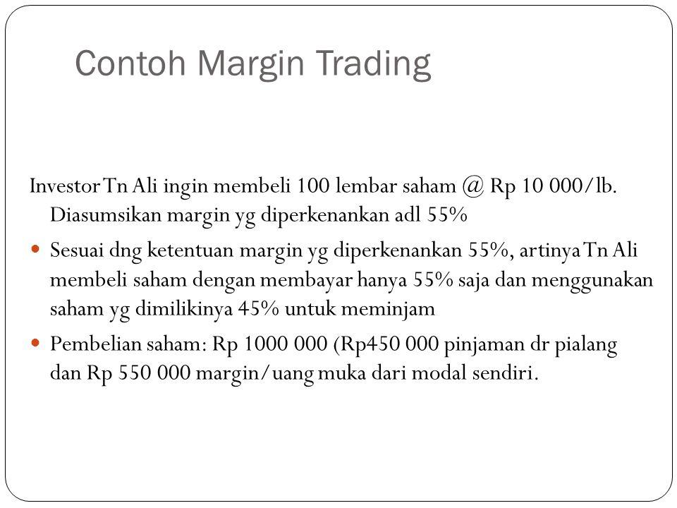 Contoh Margin Trading Investor Tn Ali ingin membeli 100 lembar saham @ Rp 10 000/lb.