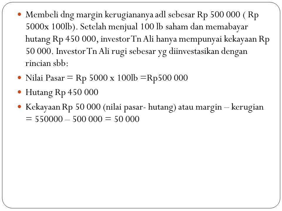  Membeli dng margin kerugiananya adl sebesar Rp 500 000 ( Rp 5000x 100lb).