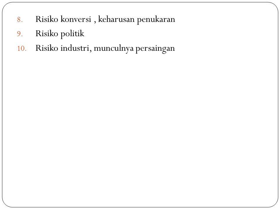 8. Risiko konversi, keharusan penukaran 9. Risiko politik 10. Risiko industri, munculnya persaingan