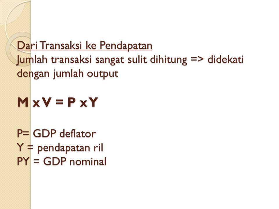 Dari Transaksi ke Pendapatan Jumlah transaksi sangat sulit dihitung => didekati dengan jumlah output M x V = P x Y P= GDP deflator Y = pendapatan ril