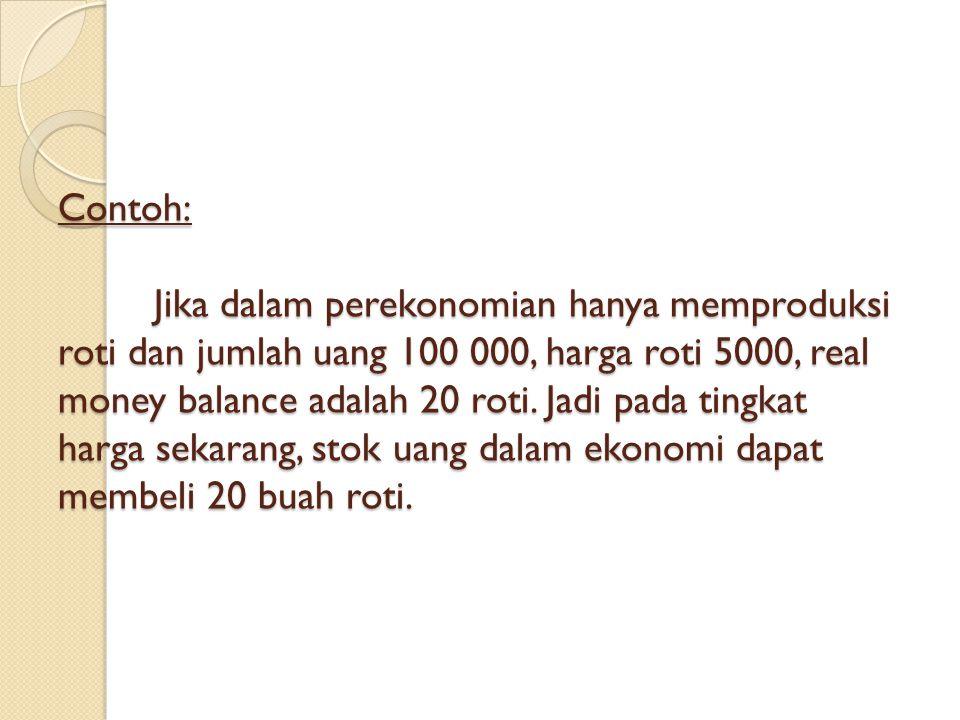 Contoh: Jika dalam perekonomian hanya memproduksi roti dan jumlah uang 100 000, harga roti 5000, real money balance adalah 20 roti. Jadi pada tingkat