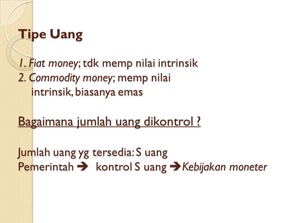 Tipe Uang 1. Fiat money; tdk memp nilai intrinsik 2. Commodity money; memp nilai intrinsik, biasanya emas Bagaimana jumlah uang dikontrol ? Jumlah uan