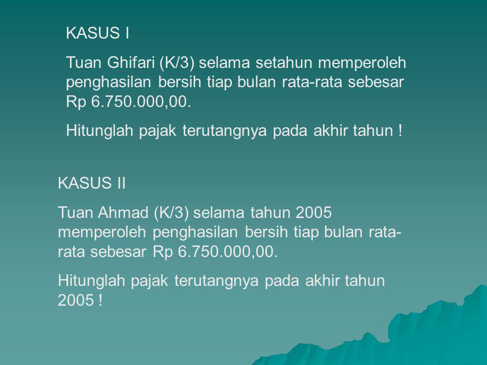 KASUS I Tuan Ghifari (K/3) selama setahun memperoleh penghasilan bersih tiap bulan rata-rata sebesar Rp 6.750.000,00.