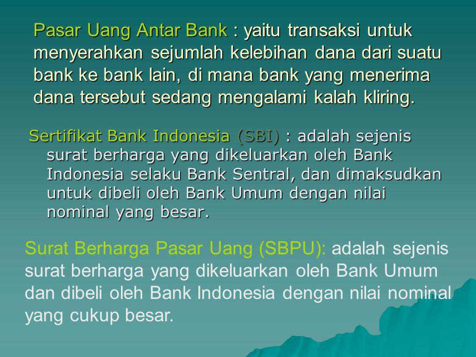 Macam transaksi yang terdapat dalam pasar uang :  Pasar uang antar bank  Sertifikat Bank Indonesia (SBI)  Surat Berharga Pasar Uang (SBPU)  Sertifikat Deposito  Valuta Asing