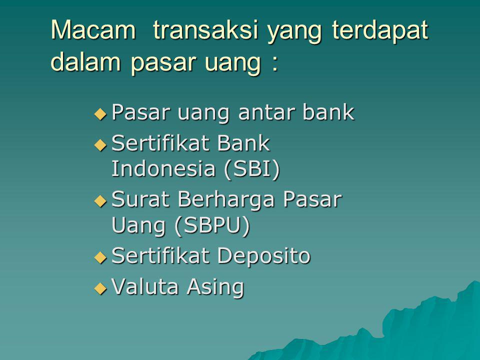 Macam transaksi yang terdapat dalam pasar uang :  Pasar uang antar bank  Sertifikat Bank Indonesia (SBI)  Surat Berharga Pasar Uang (SBPU)  Sertif