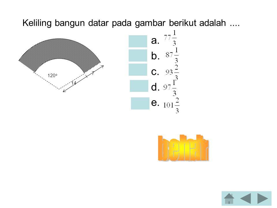 Besar sudut yang dibentuk oleh vektor a = 2i + 2j + k dan b = –3i + 2j + 2k adalah.... •a. 0 o •b. 30 o •c. 45 o •d. 60 o •e. 90 o