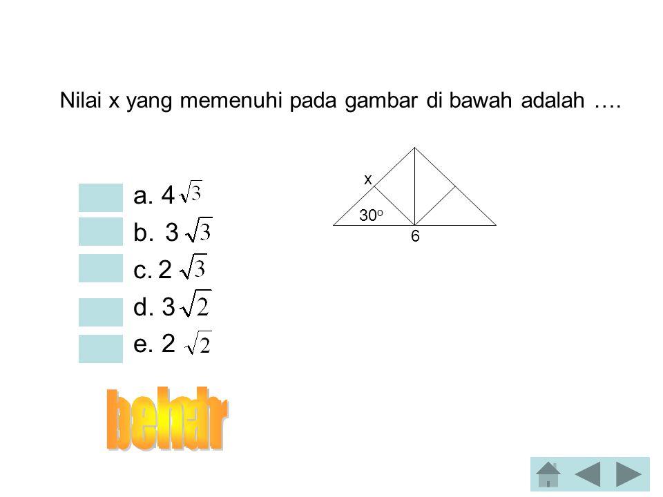Jika sin α = 5/13 dan 90 < α < 180 maka nilai sin 2α adalah… •a. 60/169 •b. 65/169 •c. -120/169 •d. 12/13 •e. -60/169