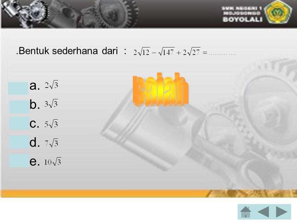 Standar deviasi dari data : 4, 6, 7, 6, 3, 4 adalah.... •a. •b. •c. •d. 2,8 •e. 5