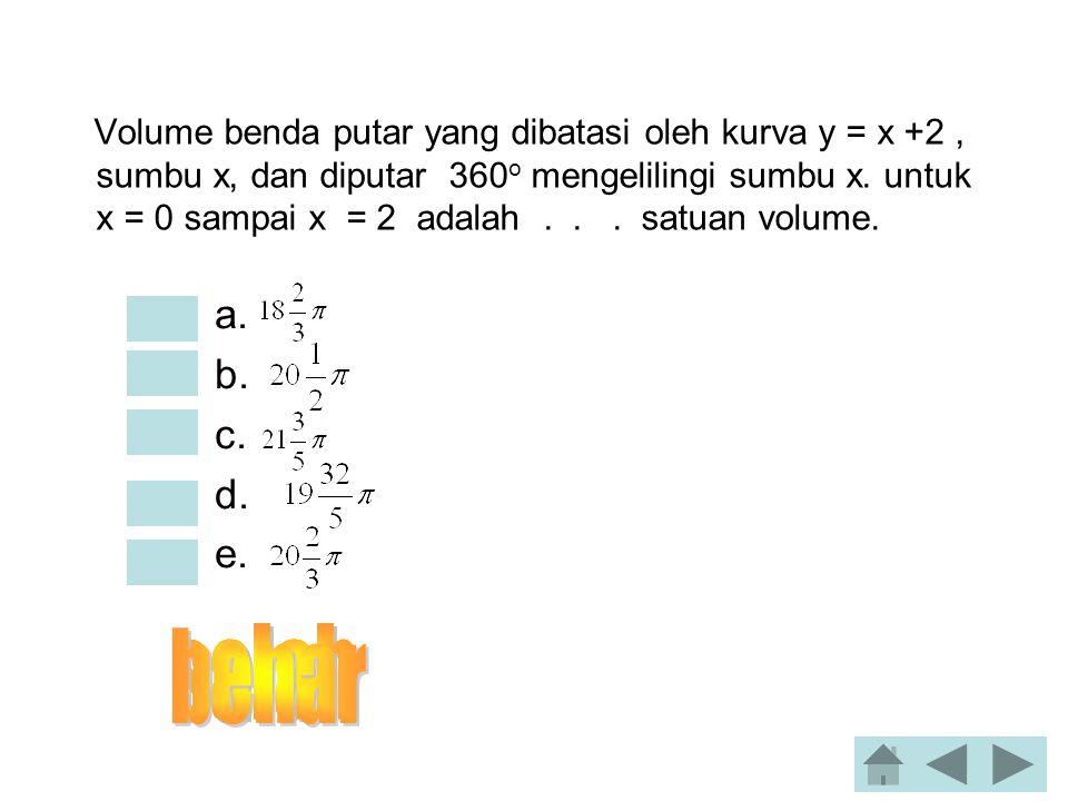 Luas daerah yang dibatasi oleh y = 3 dan y = 4 – x 2 sumbu x adalah…. •a. 7/6 •b. 17/6 •c. 25/6 •d. 19/6 •e. 33/8