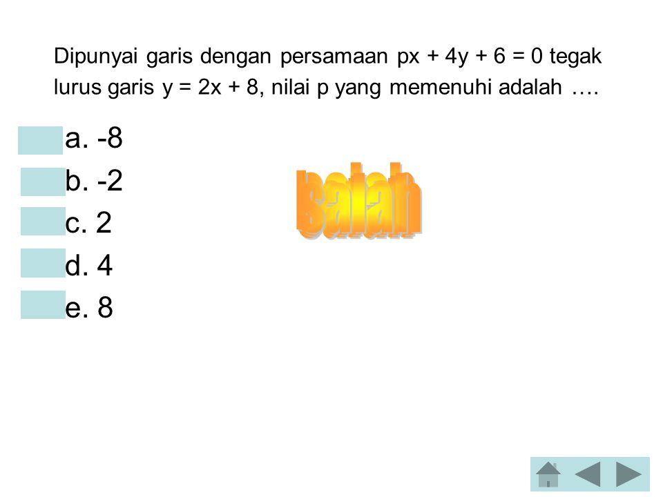 Dipunyai garis dengan persamaan px + 4y + 6 = 0 tegak lurus garis y = 2x + 8, nilai p yang memenuhi adalah ….