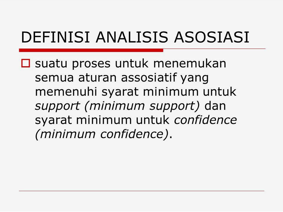 DEFINISI ANALISIS ASOSIASI  suatu proses untuk menemukan semua aturan assosiatif yang memenuhi syarat minimum untuk support (minimum support) dan syarat minimum untuk confidence (minimum confidence).
