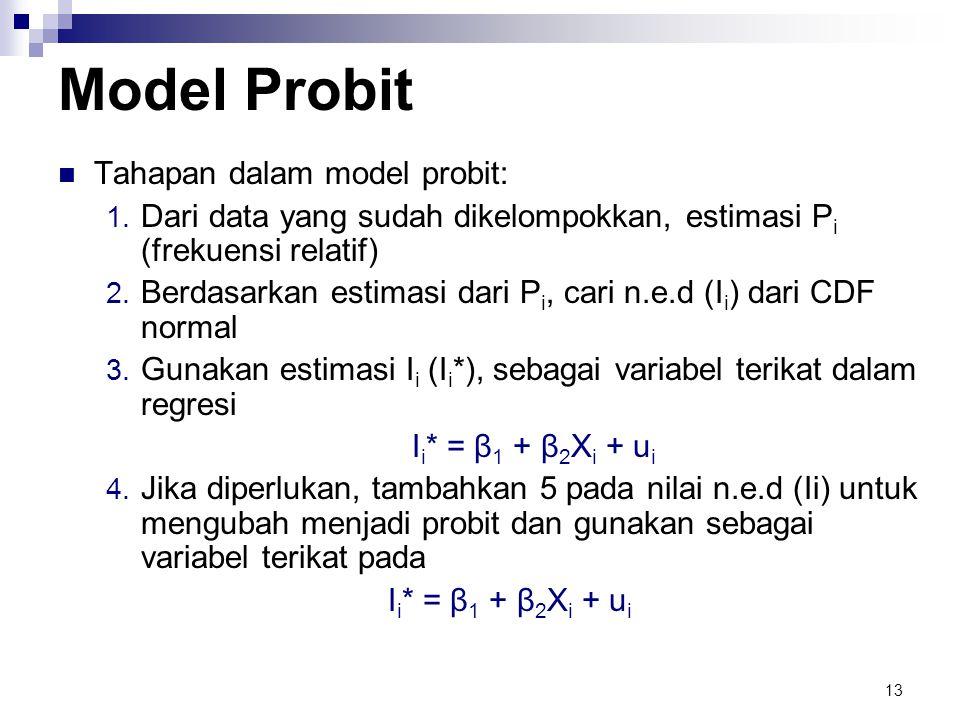 13 Model Probit  Tahapan dalam model probit: 1. Dari data yang sudah dikelompokkan, estimasi P i (frekuensi relatif) 2. Berdasarkan estimasi dari P i