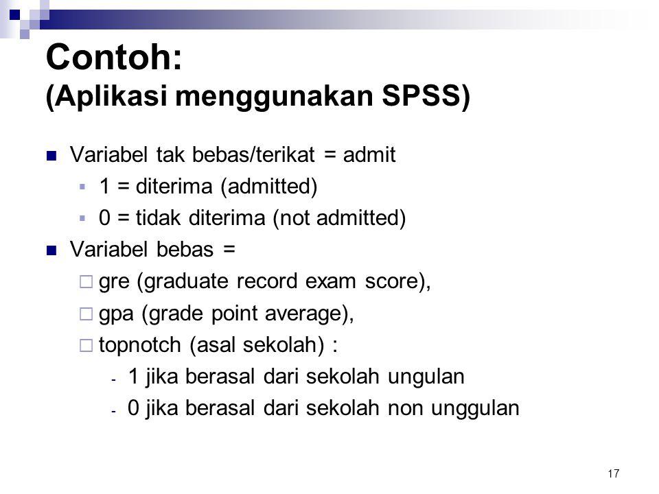 17 Contoh: (Aplikasi menggunakan SPSS)  Variabel tak bebas/terikat = admit  1 = diterima (admitted)  0 = tidak diterima (not admitted)  Variabel b
